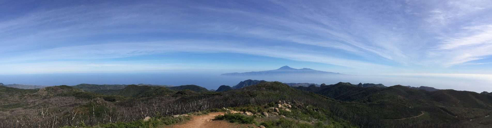 View to the neighboring island of Tenerife with the Teide